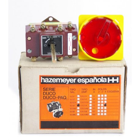 Interruptor / Seccionador De Corte En Carga De 4 Polos Hazemeyer 32a Con Prolongador Para Cuadro