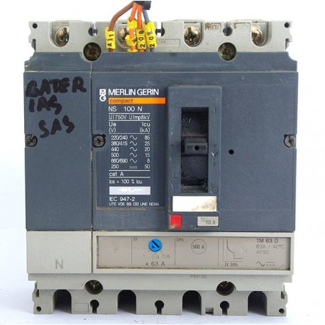 Interruptor Automático Merlin Gerin Ns160n De 4 Polos Merlin 80/100a Con Bobina De Disparo