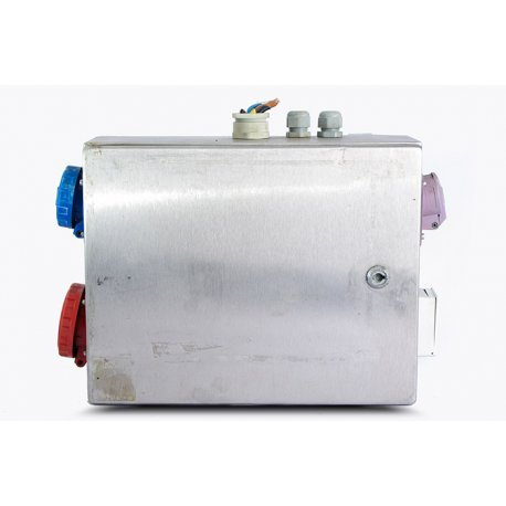 Nº3403. Cuadro de acero inoxidable con transformador, enchufes, magnetotérmicos y diferenciales