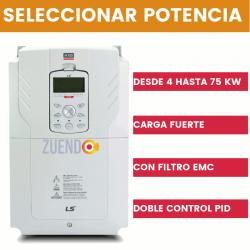 Variador de frecuencia trifásico H100 LS de carga fuerte con 2 controles PID. Todas las potencias
