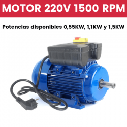 Motor de monofásico 220v 1500 RPM con interruptor y cable 0,55KW, 1,1KW y 1,5KW