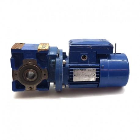 Motorreductor trifásico 220/380V 0,25 Kw con reductor sinfin 9 RPM finales con electrofreno
