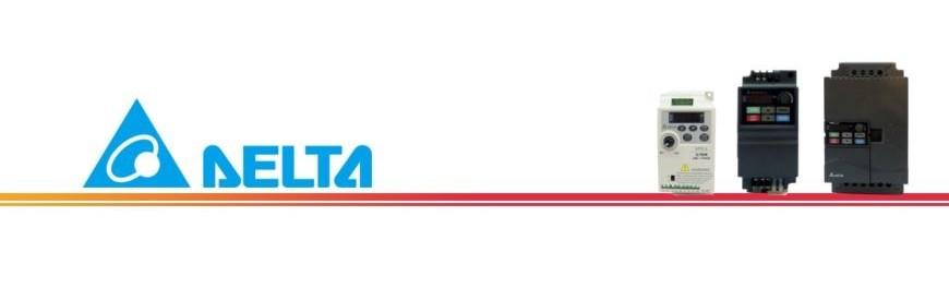 Variadores de frecuencia, convertidores de frecuencia, reguladores de voltaje marca Delta. Entrada monofásica 220V o trifásica 380V y salida a motor trifásica 220V o trifásica 380V. Disponibles desde 0,4 kw hasta 22 kw / 30 caballos de potencia. Variadores económicos con altas prestaciones. 2 años de garantía.