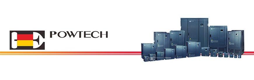 Variadores inversores de frecuencia monofásicos y trifásicos marca POWTECH   Familia de variadores de frecuencia de la marca Powtech, disponemos de todas las potencias desde 0,75 kw hasta 630 kw y de todos los voltajes.   Son fáciles de instalar, no requieren de mantenimiento y sobre todo son sencillos de utilizar   Disponemos en exclusiva de un variador transformador con entrada monofásica 220V y salida trifásica 380V para motores trifásicos de 2,2 kw y 4 kw.