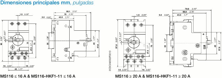 Medidas de los disyuntores guardamotores ABB MS116 disponibles en zuendo.com