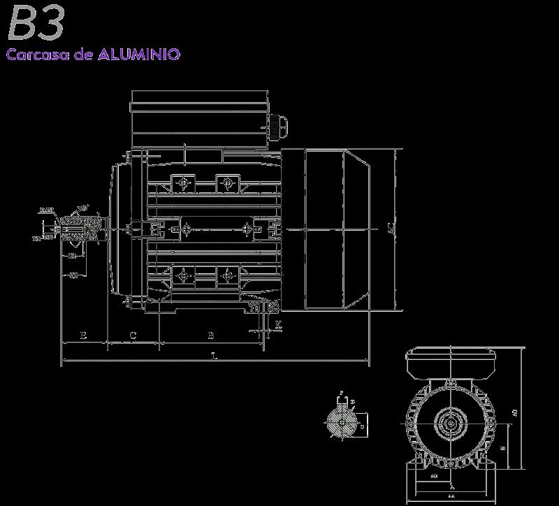Medidas motor electrico monofasico B3 Alren