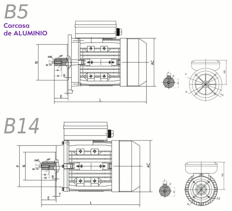 Medidas motor electrico monofasico brida B5 B14 Alren