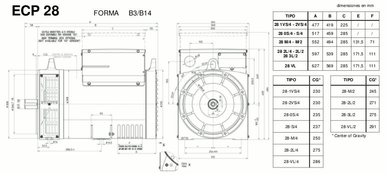 Medidas alternadores ECP28 B3-B14 mecc alte en zuendo.com