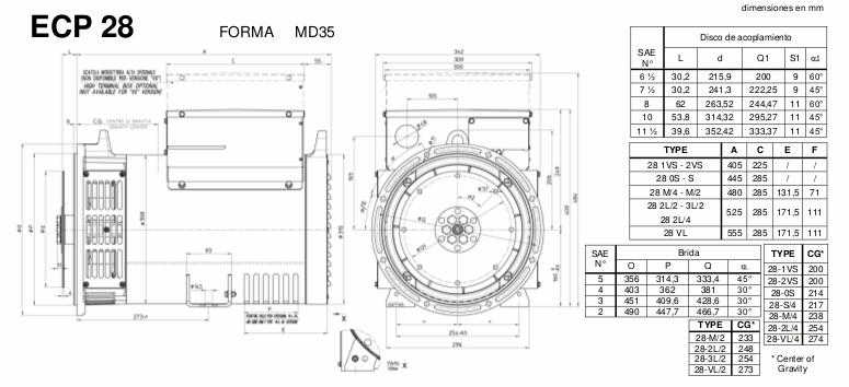 Medidas alternadores ECP28 MD35 mecc alte en zuendo.com