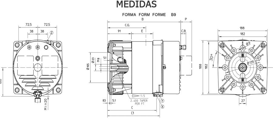 Medidas alternadores S16W zuendo.com