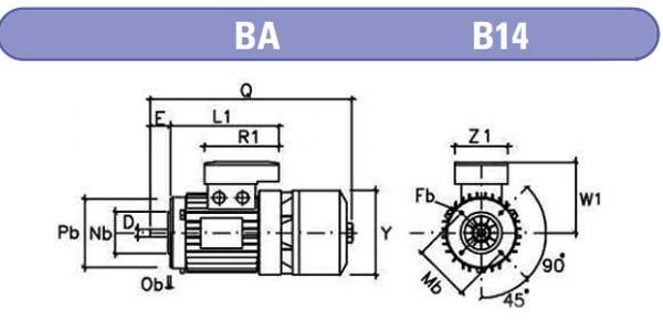 dimensiones motores electrofreno mgm BA b14 zuendo.com
