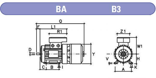 dimensiones motores electrofreno mgm BM b3 zuendo.com