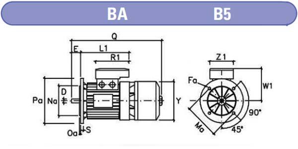 Dimensiones motores electrofreno mgm BA b5 zuendo.com