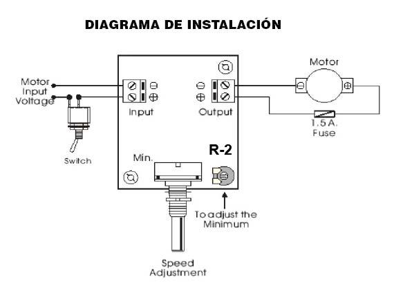 Diagrama de instalacion regulador velocidad 24V DC zuendo.com