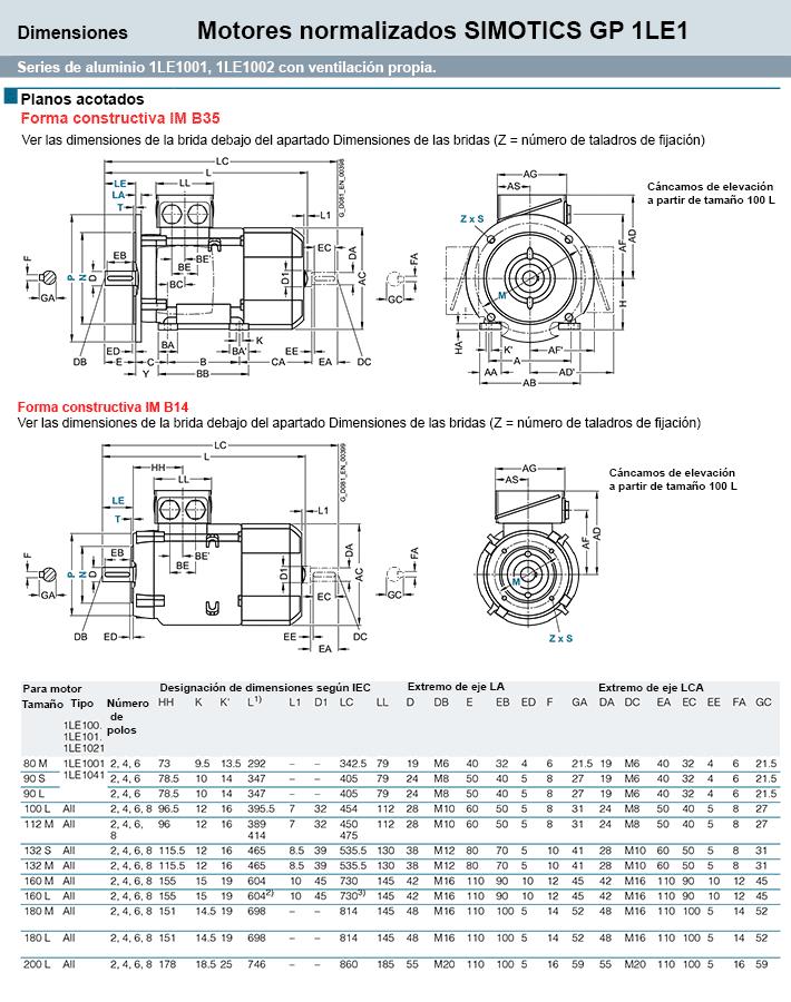 B35/B14 Medidas motor siemens simotics B35-B14 zuendo.com