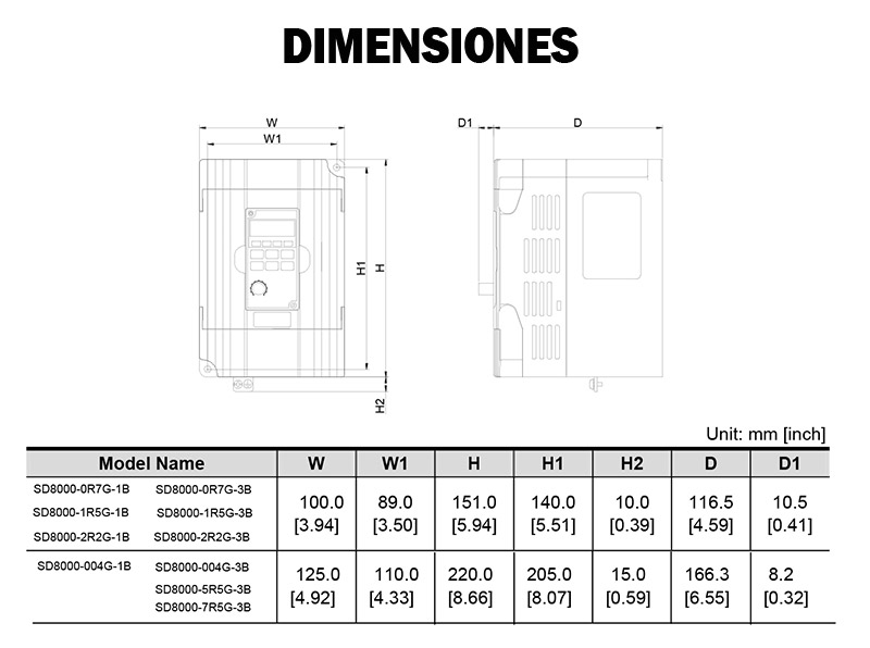 Dimensiones Sundrive SD8000