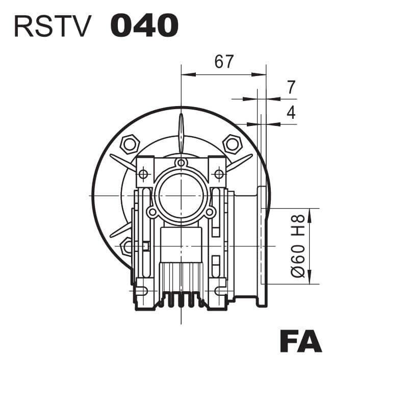 Medidas Brida FA reductor RSTV40