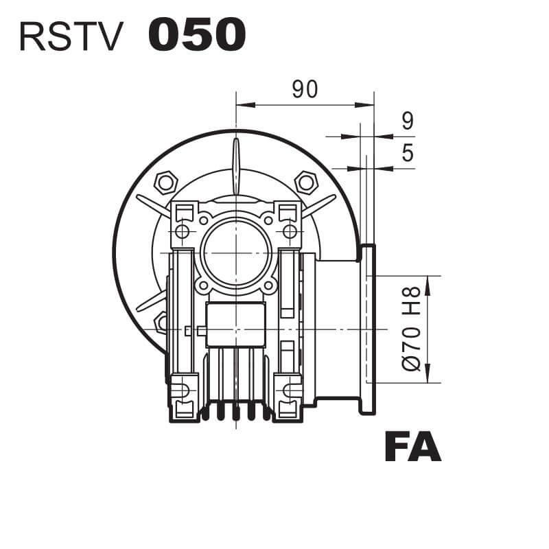 Medidas Brida FA reductor RSTV50