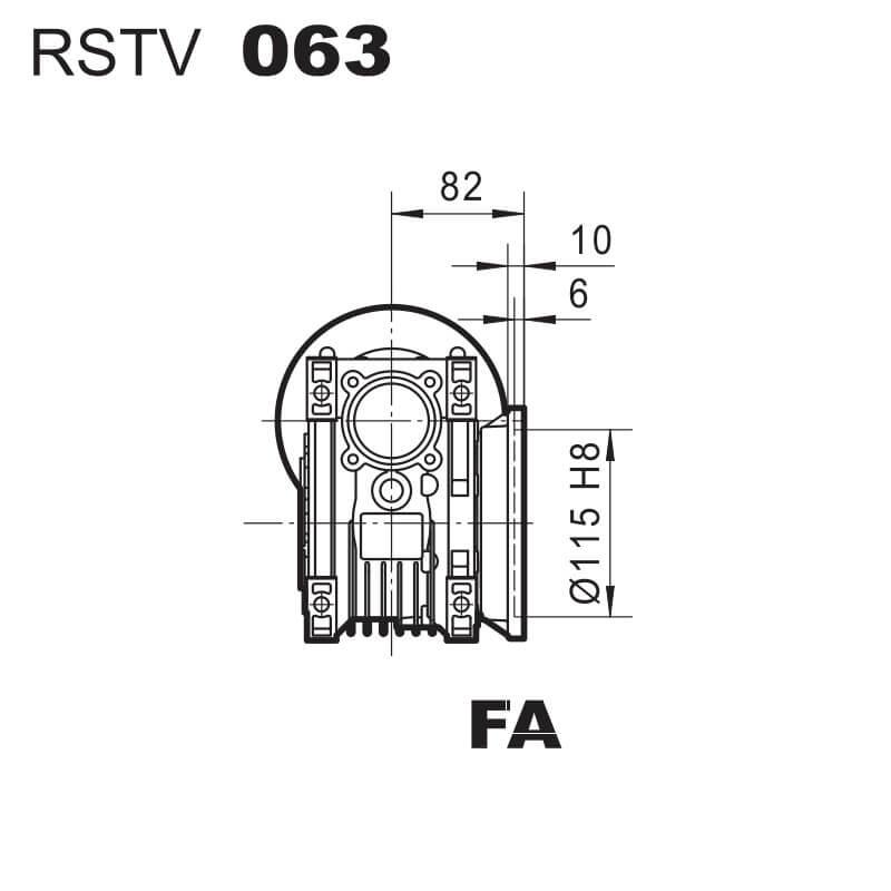 Medidas Brida FA reductor RSTV63